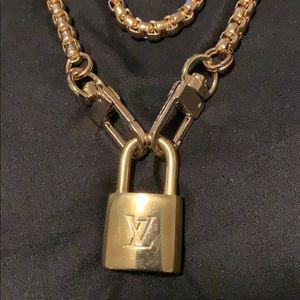 Authentic Louis Vuitton Lock w/ Gold Necklace